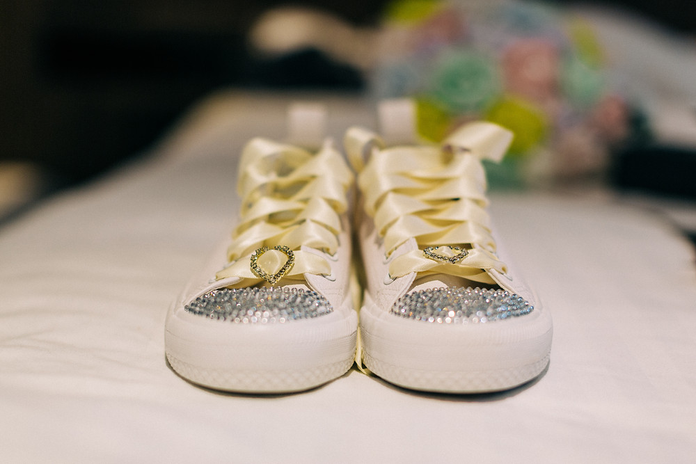 Customised trainers as alternative wedding shoes taken at Holiday Inn Newcastle in Jesmond