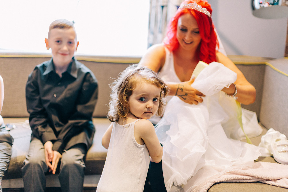 Colourful documentary taken at Holiday Inn Jesmond bridal getting family ready