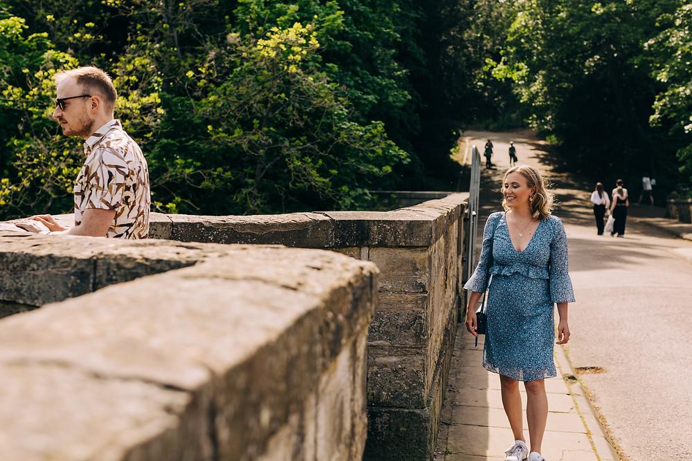 Durham prebends bridge engagement shoot sunny day romantic University wedding