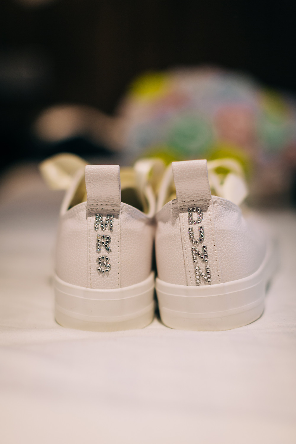 Bride's customised trainer shoes taken at Holiday Inn Jesmond Newcastle