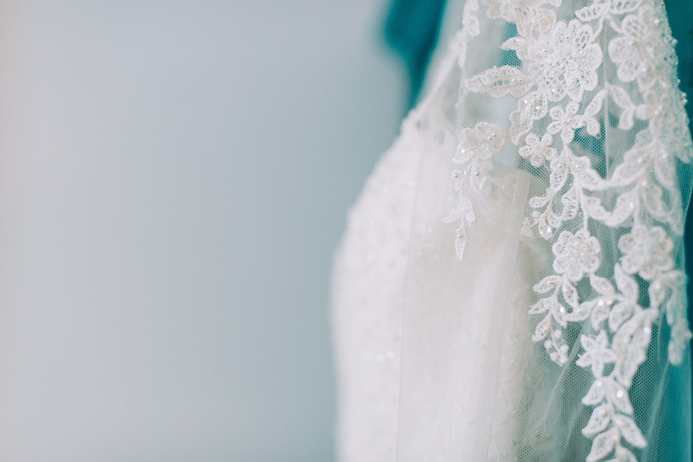 Colourful detail shot of bride's dress at Holiday Inn Jesmond