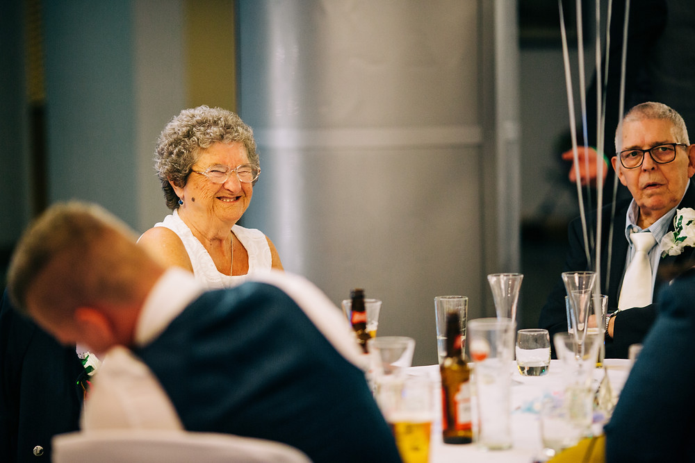 Colourful wedding photography showing grandparents at reception Holiday Inn Newcastle