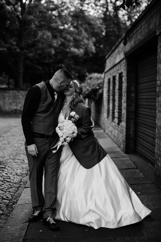 Alternative wedding photography black and white bride and groom portrait near Holiday Inn Jesmond Newcastle