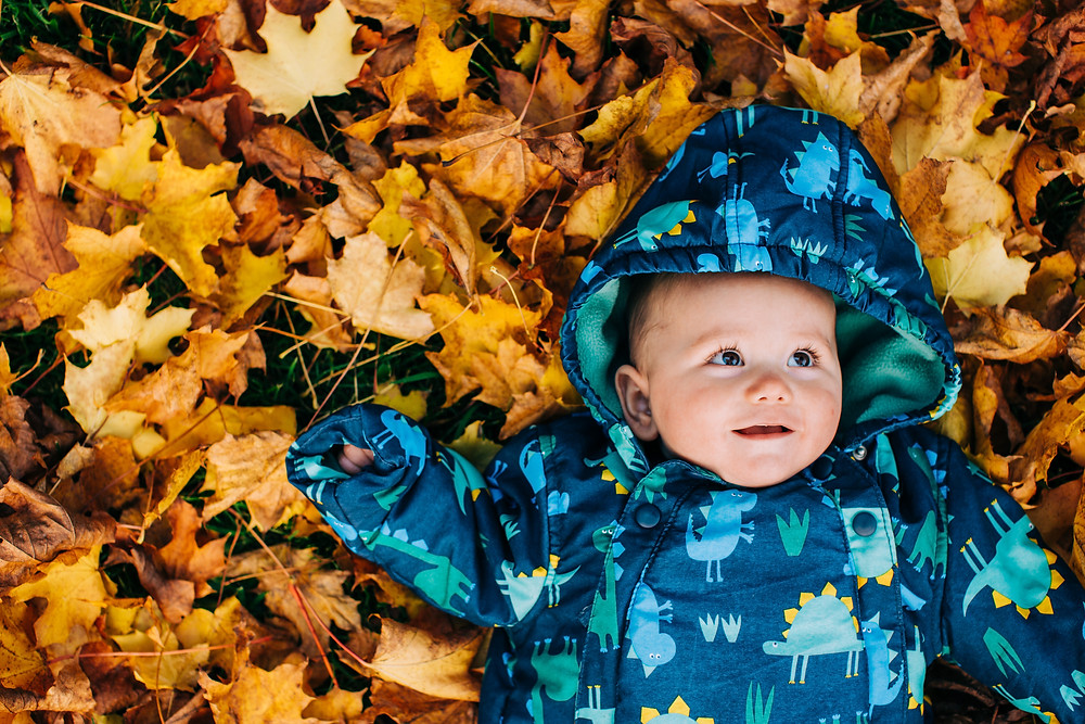 Baby lying in autumn leaves in Heaton Park, Newcastle Upon Tyne