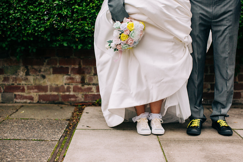 Colourful wedding photography taken during couple's portrait session after wedding at Newcastle Holiday Inn Jesmond