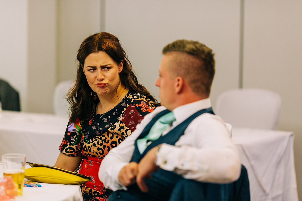 Colourful wedding photography showing guests at reception Holiday Inn Newcastle