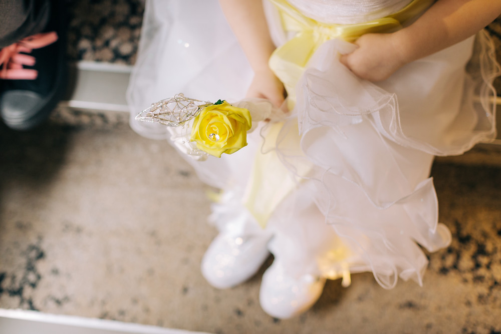 Colourful documentary style preparation photo of bride's daughter at Holiday Inn Jesmond Newcastle