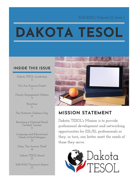 Dakota TESOL 2021 Newsletter - Page 1.png