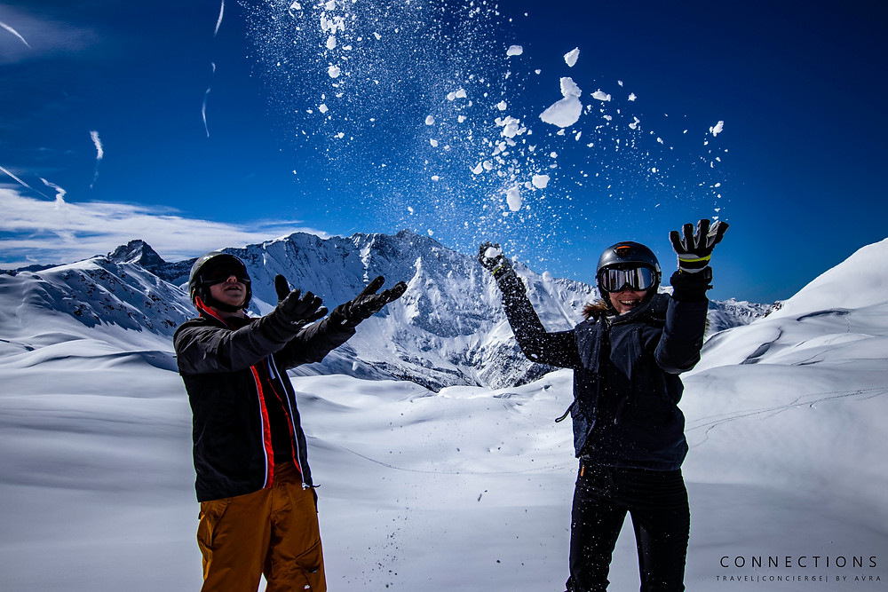 Throwing snow at Les Arc Resort Savoie, France