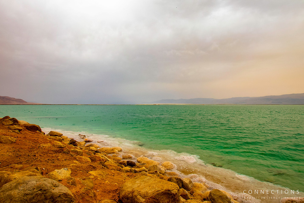 Shoreline view on overcast day of the Dead Sea