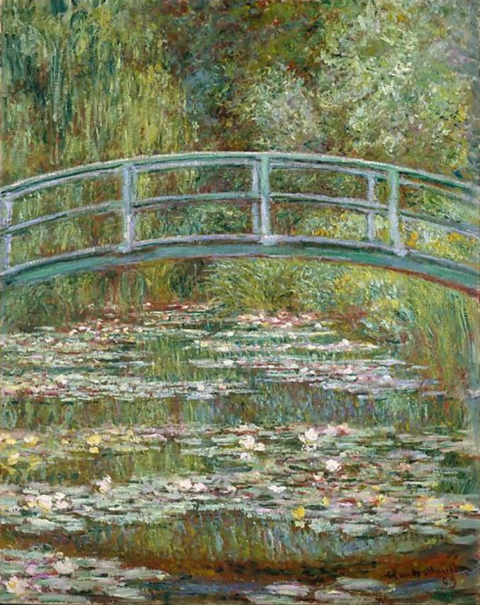 Image of Monet's Bridge Over a Pond Of Water Liiles Painting