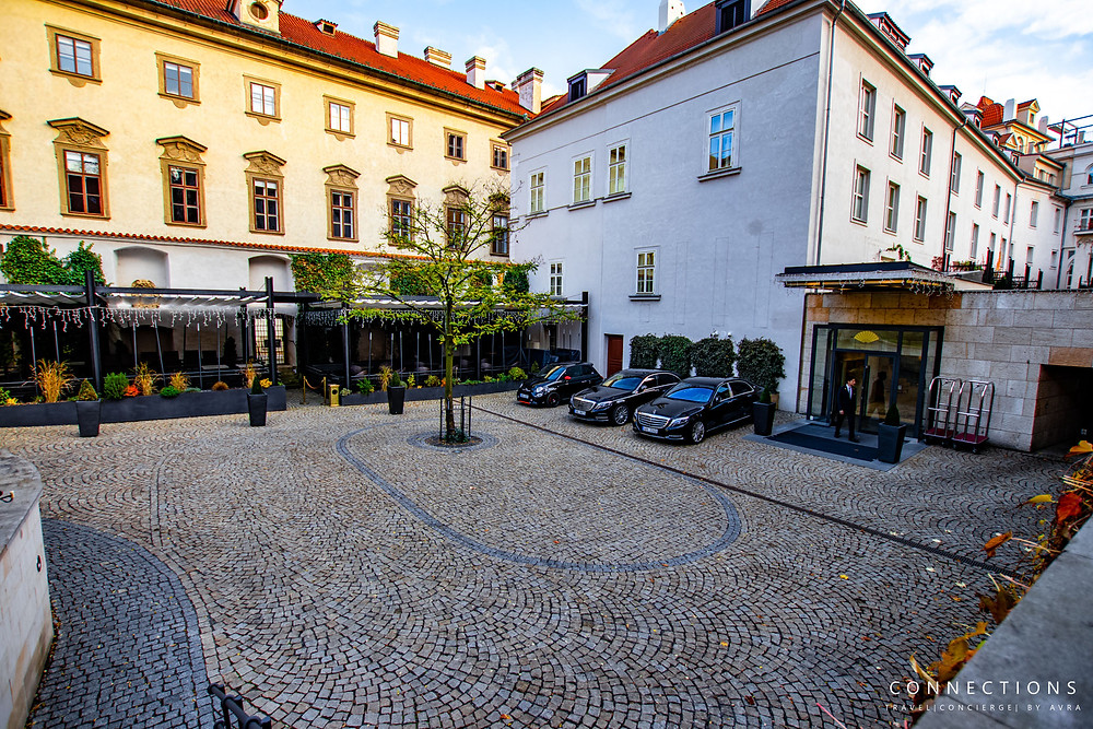Entrance of Mandarin Oriental Prague hotel