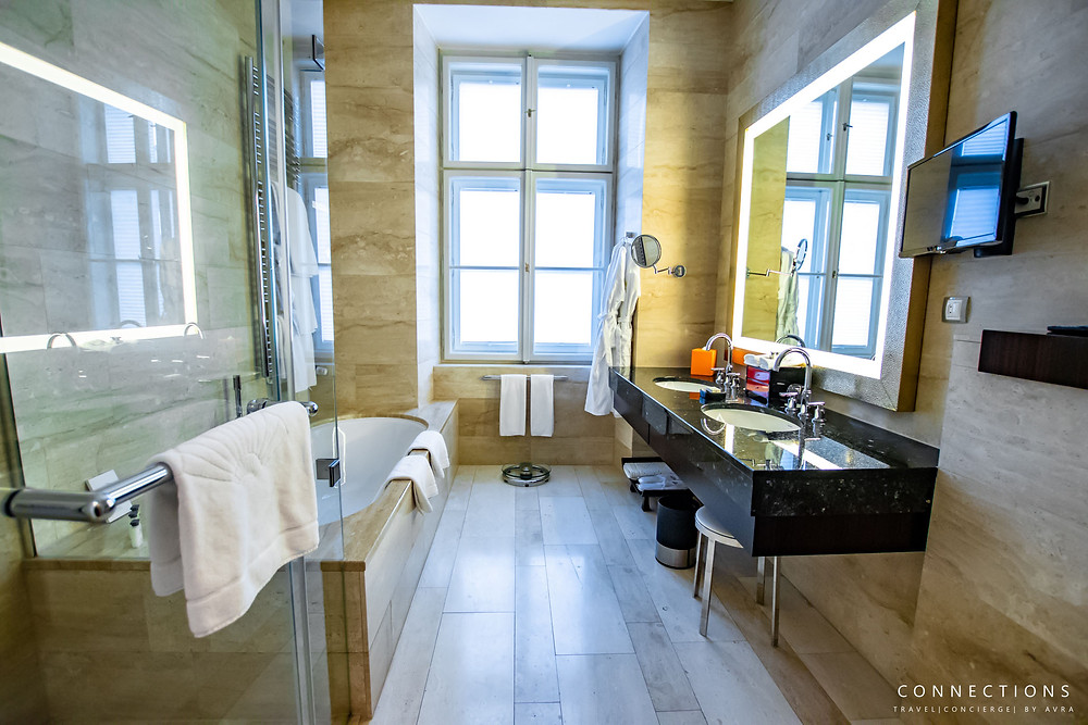 Limestone Bathroom at Mandarin Oriental Prague