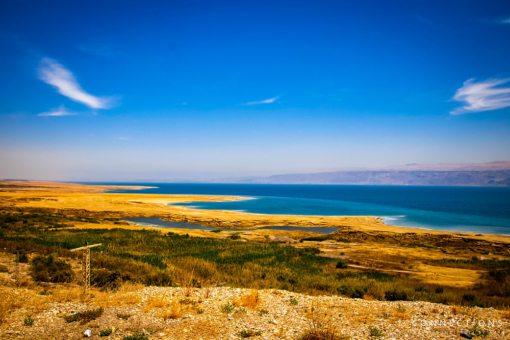 Wide-angle basin view of the Dead Sea