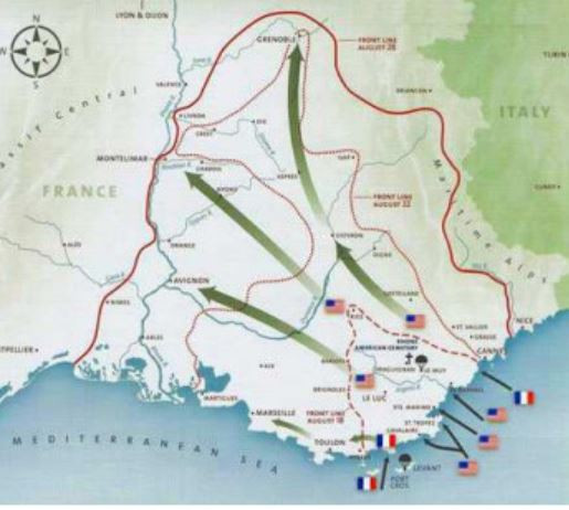 Map of WW2 Southern France Invasion