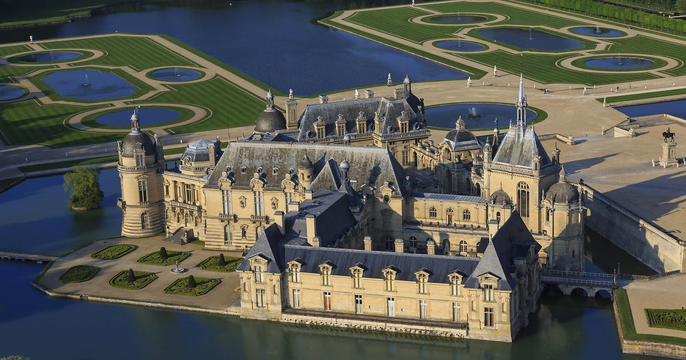Aerial view of Chateau de Chantilly