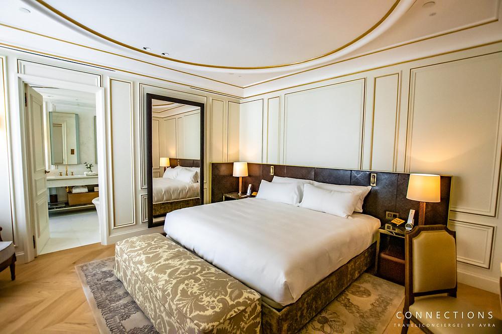 Suite bedroom at the Mandarin Oriental in Madrid