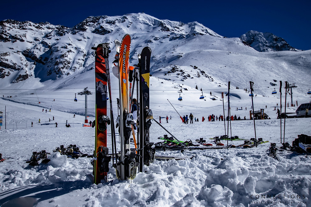 Ski's in the snow at Les Arc Resort