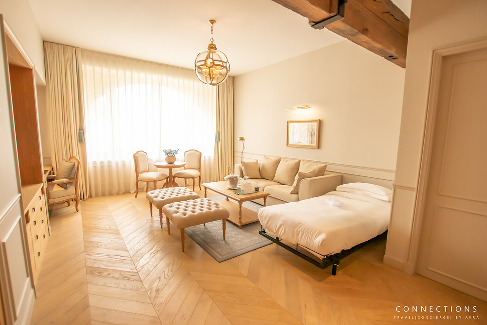view of deluxe suite living room in hotel chais monnet & spa