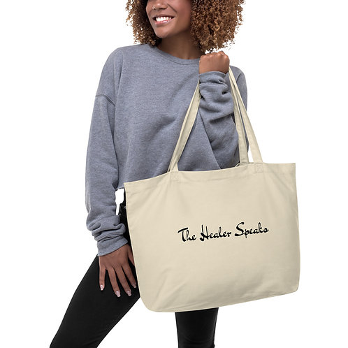 Large organic tote bag: The Healer Speaks 3