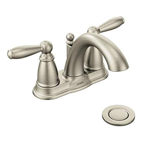 Moen Brantford™ Centerset Lavatory Faucet with Lever Handle in Brushed Nickel