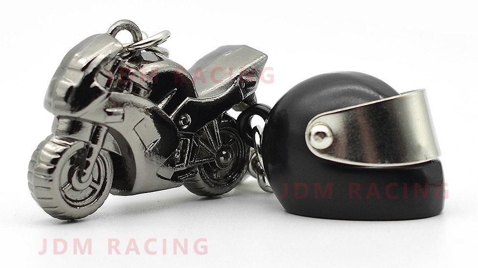 Cool Mini Motorcycle & Helmet Keychain Pendant Key ring