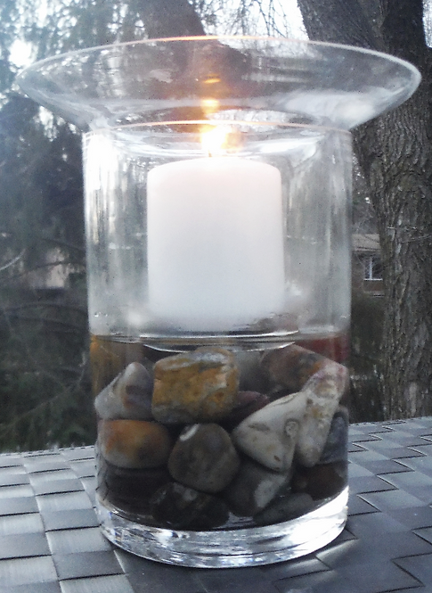 """8"""" Candle with Polished Stones"""