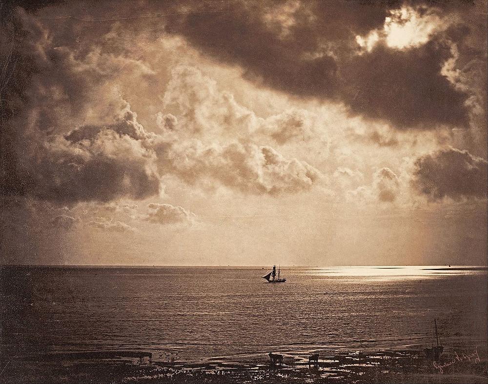 Brick au clair de lune, une marine de Gustave Le Gray, 1856-1857.