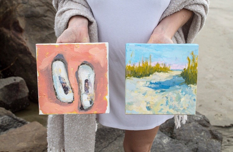 oyster beach path oil paintings