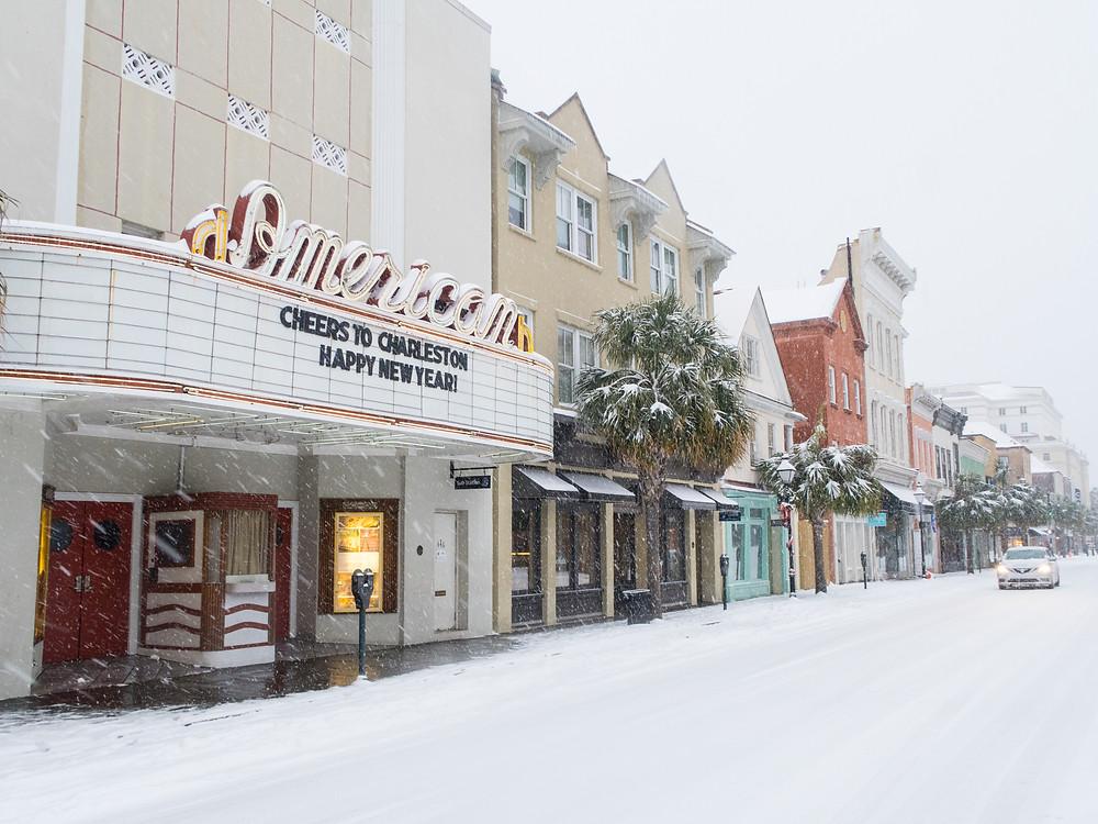American Theater upper King Street Charleston snow
