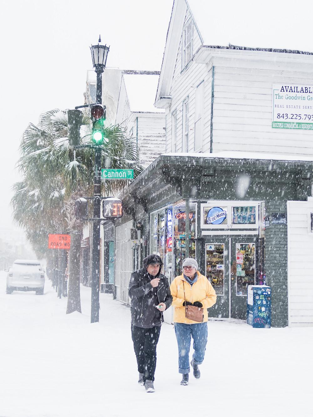 upper King Street Charleston snow