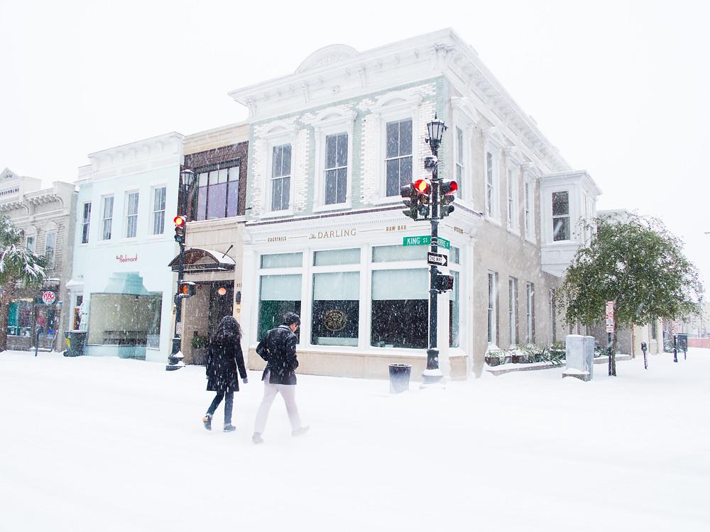 The Darling upper King Street Charleston snow