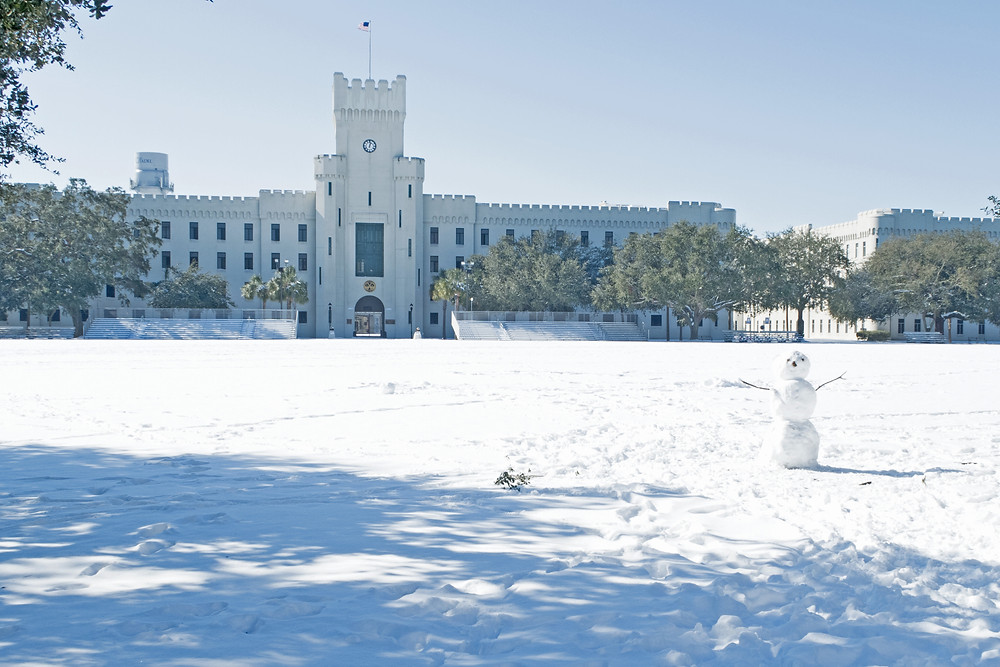 the Citadel Charleston snowman snow