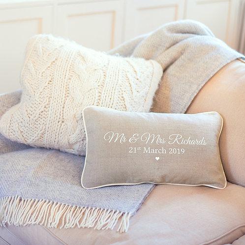 Personalised Linen Wedding Cushion