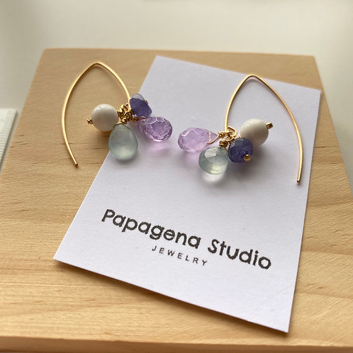 CHUNK amethyst, agate, chalcedony and ceramic earrings
