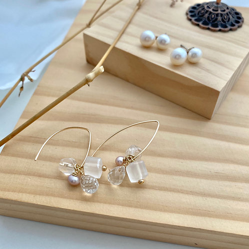 CHUNK crystals and freshwater pink pearl long hook earrings