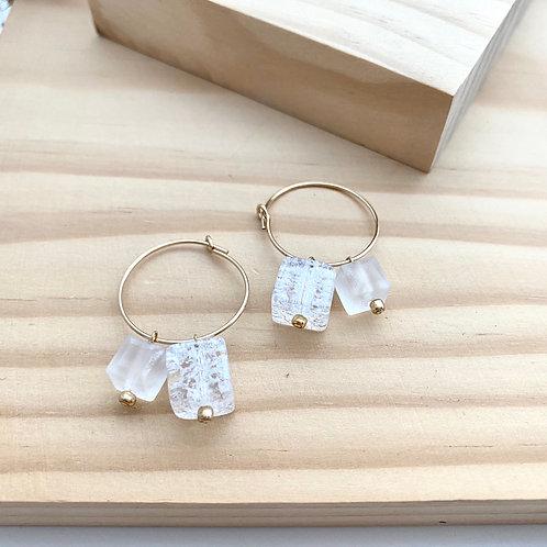 crystal cube hoop earrings クリスタルキューブのフープピアス