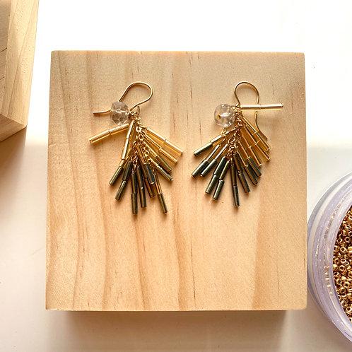 dangle beads and smokey quarts earrings 竹ビーズとスモーキークォーツのピアス