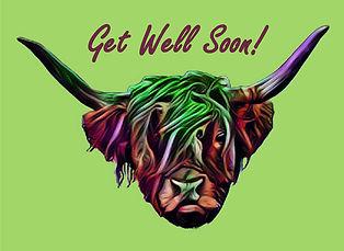Highland cow design get well soon card.j