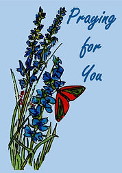 Butterfly and blue flowers Praying for Y