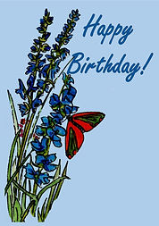 Butterfly and blue flowers Birthday Card