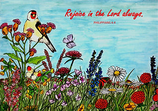 Flower Meadow with Philippians 4.4 Bible