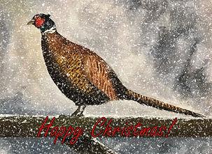 Pheasant in Winter - Happy Christmas Car