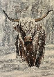 Very Snowy Highland Cow - Thank You Card