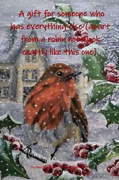 FRONT COVER ROBIN IN SNOW COVER -NOTEBOOK FOR PEOPLE WHO HAVE EVERYTHING 6x9 COVER TEMPLAT