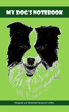 FRONT COVER-GREEN COLLIE DOG NOTEBOOK-5x
