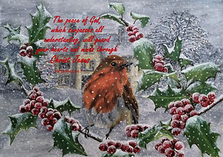 Robin in Snow - With Philippians 4.7 Bib