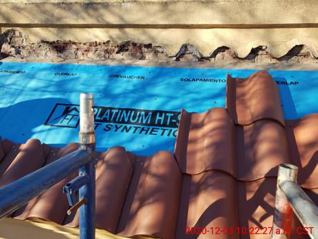 December 3, 2020  East side 3rd floor clay tiles being reinstalled.