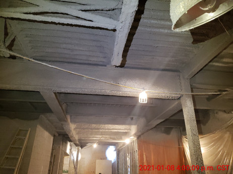 January 8, 2021  Underside of second floor deck, beams, and joist sprayed with Monokote fire protection.