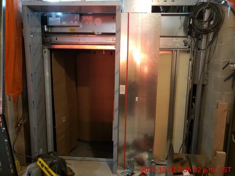 December 2, 2020  Elevator controller housing being installed.